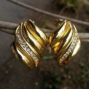 Dior rhinestone swirl clip earrings vintage